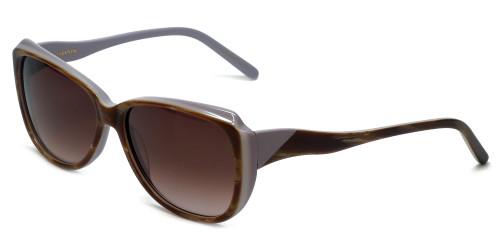 Vera Wang Designer Sunglasses V424 in Blonde Horn Frame & Brown Gradient Lens 55mm