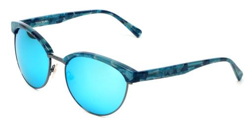 Vera Wang Designer Sunglasses V430 in Blue Tortoise Frame & Green Mirror Lens 56mm