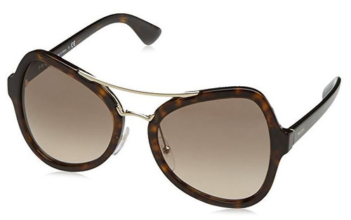 Prada Designer Sunglasses PR18SS-2AU3D0 in Havana & Brown Gradient Lens