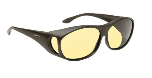Haven Designer Fitover Sunglasses Night Driver in Black & Night Driver Yellow Lens (MEDIUM)