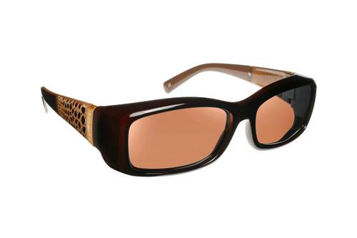 Haven Designer Fitover Sunglasses Freesia in Croc Chocolate & Polarized Amber Lens (MEDIUM)