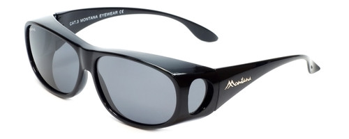 Montana Designer Fitover Sunglasses F03E in Gloss Black & Polarized Grey Lens