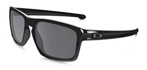 Oakley Designer Polarized Sunglasses Sliver OO9262-09 in Polished-Black & Black Iridium Lens