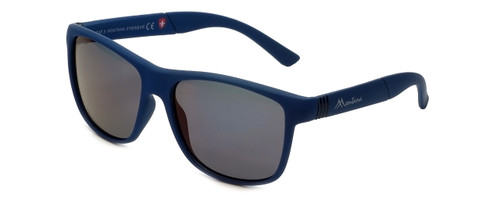 Montana Eyewear Designer Polarized Sunglasses MS312D in Matte-Blue & Grey Lens
