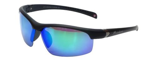 Montana Eyewear Designer Polarized Sunglasses SP302B in Matte-Black & Green Mirror Lens