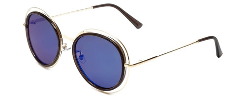 Gold/Black Frame with Amber Tint/Blue Mirror Lens
