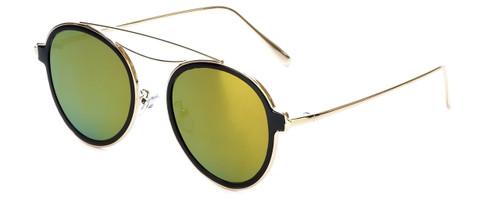 Gold/Black Frame with Green Tint/Orange Mirror Lens
