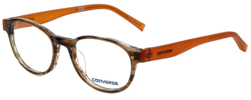 Converse Designer Eyeglasses Q014-Brown-Stripe-48 in Brown Stripe and Orange 48mm :: Progressive