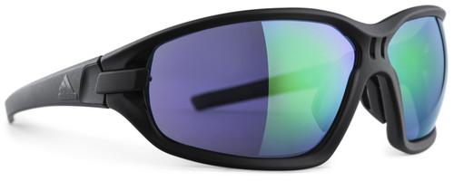 Adidas Designer Sunglasses Evil Eye Evo Basic in Matte Black & Green Mirror Lens