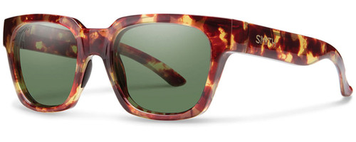 Smith Optics Comstock Designer Sunglasses in Yellow Tortoise with Polarized ChromaPop Green Lens