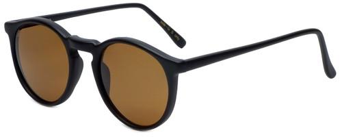I's Oval Designer Sunglasses W1546-302 in Matte Black with Brown Lens
