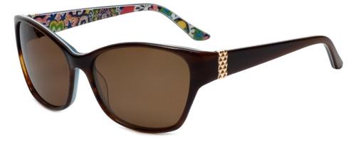 Vera Bradley Designer Sunglasses Marsha in Layered Brown Crystal Blue