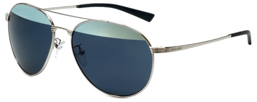 Police Designer Sunglasses Rival 2 in Shiny Palladium with Silver Mirror Lens