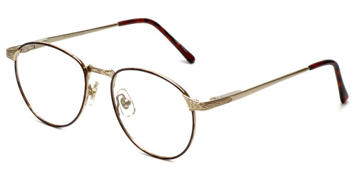 Fashion Optical Reading Glasses E788 in Gold-Burgundy with Blue Light Filter + A/R Lenses