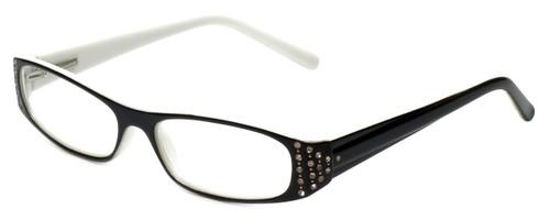 Corinne McCormack Reading Glasses Lexi in Black-White with Blue Light Filter + A/R Lenses