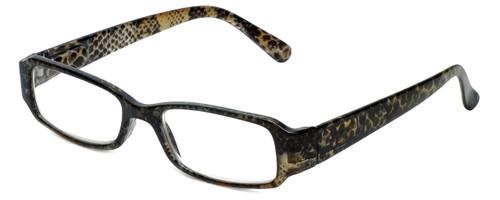 Corinne McCormack Reading Glasses Libby in Gold-Snake-Skin with Blue Light Filter + A/R Lenses