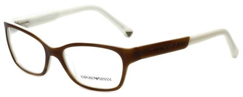 Emporio Armani Designer Reading Glasses EA3004-5047 in Striped Brown Cream 50mm