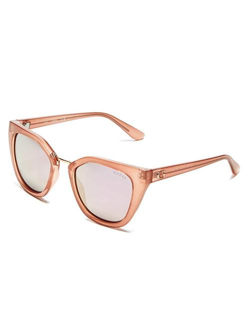 Guess  Designer Sunglasses GU7541-72C in Beige with Pink Mirror Lenses