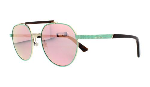 Diesel Designer Sunglasses DL0239-95Z in Mint with Pink Mirror Lenses