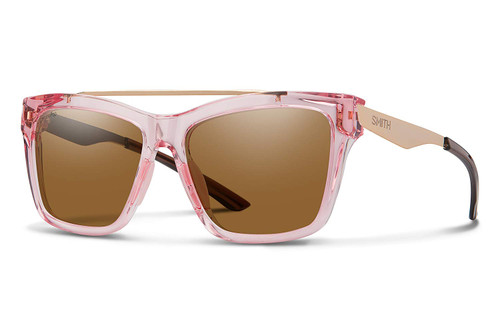 Smith Optics Runaround Polarized Sunglasses in Crystal Pink with Brown Lens