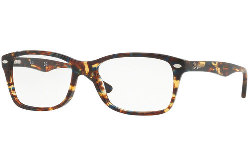 Ray Ban Designer Reading Eye Glasses RX5228-5711-53 Spotted Blu/Brown/Yellow 53mm