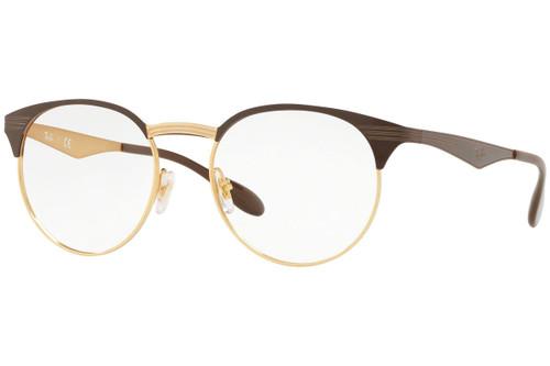 Ray Ban Designer  Reading Eye Glasses RX6406-2905-49 Gold/Shiny Brown 49mm