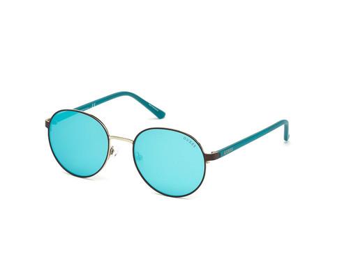 Guess  Designer Sunglasses GU3027-49C in Matte Brown with Non-Polarized Blue Mirror Lens