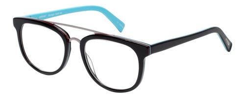 EyeBobs Wedge Designer Reading Eye Glasses in Glossy Black/Baby Blue 160-00 52mm
