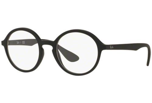 Ray Ban Designer Eyeglasses RX7075-5364 Rubber Matte Black Oval 49mm Progressive