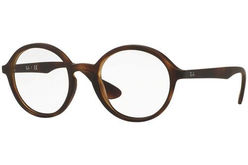Ray Ban Designer Eyeglasses RX7075-5365 Rubber Matte Tortoise 49mm Progressive