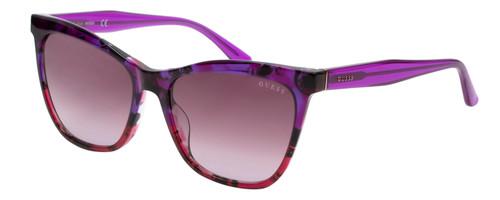 Guess Designer Sunglasses Purple Pink Tortoise/Rose Gradient Lens GU7520 56mm