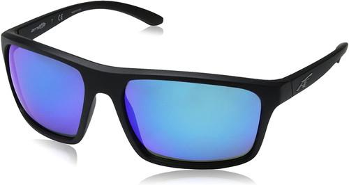 Arnette Men's Sandbank Designer Classic Sunglasses Matte Black/Blue Lens 61mm