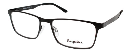 Esquire EQ1524 Rectangular Metal Frame Eyeglasses in Satin Black 55 mm Progressive
