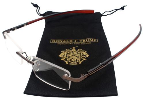 Donald Trump Designer Rimless Metal Reading Glasses DTR06 Dark Brown Copper 48mm