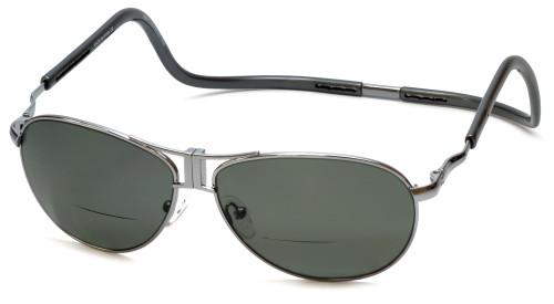 Clic Aviator XXL in Gun Metal Polarized Bi-Focal Reading Sunglasses