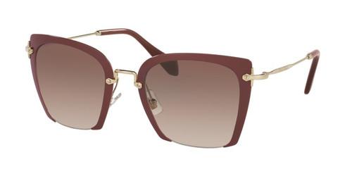 Miu Miu Designer Womens Large Sunglasses in Burgundy/Red Gold with Amber Gradient Lens