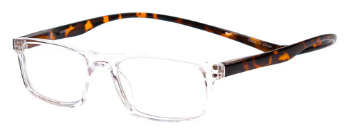 Profile View of Magz Gramercy Magnetic Neck Hanging Reading Glasses w/ Snap It Design in Crystal Transparent Tortoise Havana Brown Gold