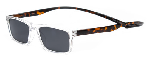 Profile View of Magz Gramercy Magnetic Neck Hanging SunGlasses w/ Snap It Design in Crystal Transparent Tortoise Havana Brown Gold with Smoke Grey Lenses