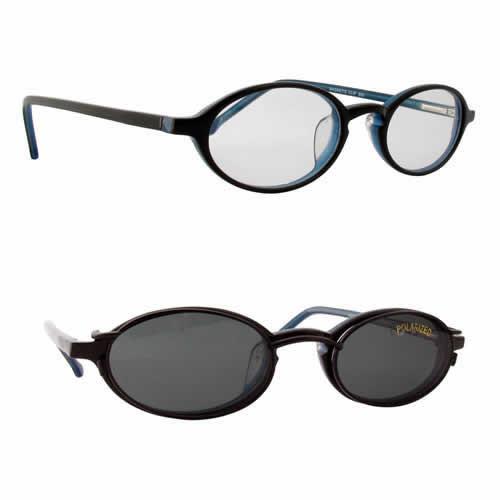 Magnetic Clip-On 900 in Black-Blue Polarized Reading Sunglasses :: Custom Left & Right Lens