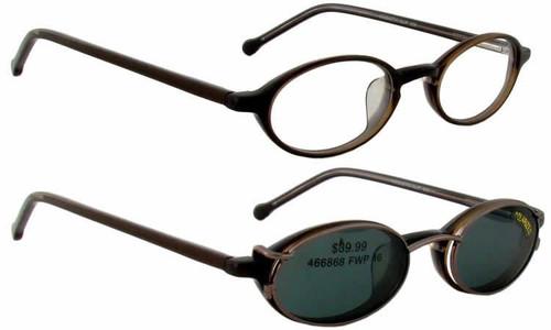 Magnetic Clip-On 900 in Bronze Polarized Reading Sunglasses :: Custom Left & Right Lens