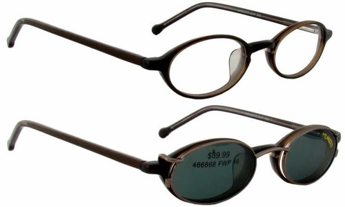 Magnetic Clip-On 900 in Bronze Polarized Reading Sunglasses :: Rx Single Vision