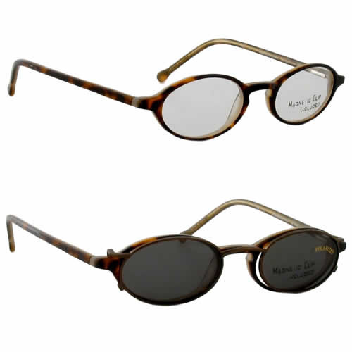 Magnetic Clip-On 900 in Tortoise Polarized Reading Sunglasses :: Rx Single Vision