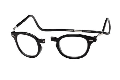 Clic Magnetic Reading Glasses Vintage Oval Style in Black :: XXL Fit