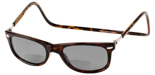 Clic Ashbury in Tortoise Polarized Bi-Focal Reading Sunglasses