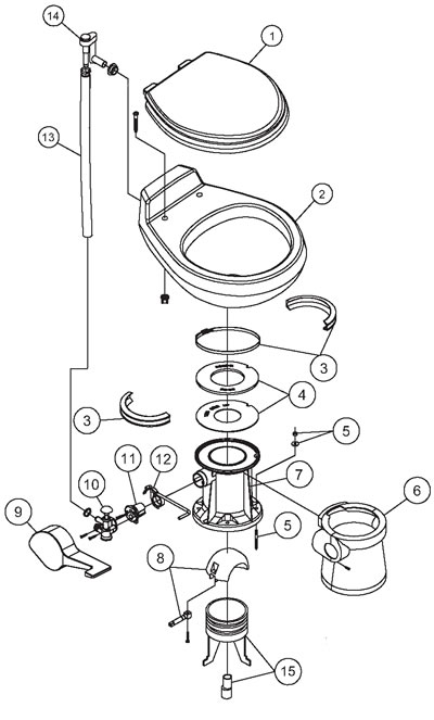 DOMETIC/SEALAND - VacuFlush Toilet Parts - 500 Series Parts - 508+