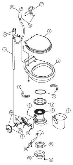 DOMETIC/SEALAND - Gravity Traveler Toilet Parts - 510H