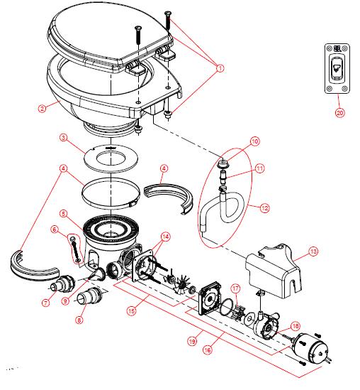 DOMETIC/SEALAND - MasterFlush Toilet Parts - 7100 Series