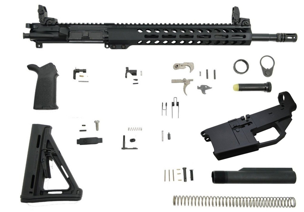"PSA 16"" 5.56 NATO 1/7 Mid-Length Nitride 13.5"" M-LOK MOE EPT Rifle Kit with MBUS Sight Set & 80% Arms Lower Receiver"