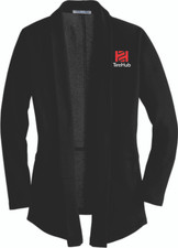 Clearance Ladies Interlock Cardigan Sweater - Black