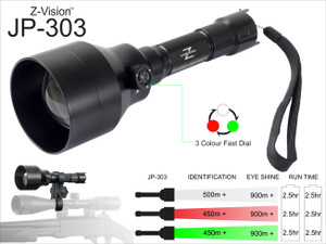 Z-Vision - JP-303 - Hunting  Flash Light (White, Red, Green) Torch for night hunting with distance chart